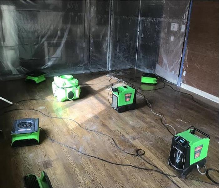green drying equipment with plastic barrier in kitchen